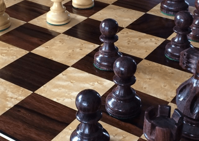 Custom Chess Board in Ebony and Birds Eye Maple with Ebony and Holly Accent