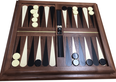 Highly customized backgammon with ebony and holly points and chips