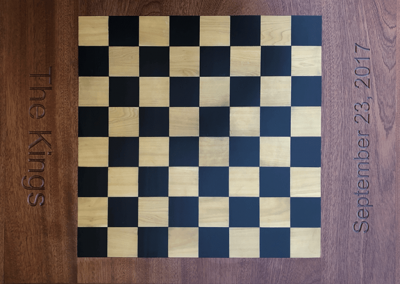 One side of two sided Custom Chess & Backgammon Board, in Dark Mahogany with Ebony and Boxwood squares.