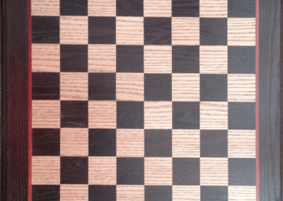 Custom Chess/Checker Board in Oak and Cambia Oak with Padauk accent.