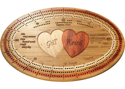 Custom cribbage board in caramelized bamboo, inlaid hearts and engraved personalizatoin