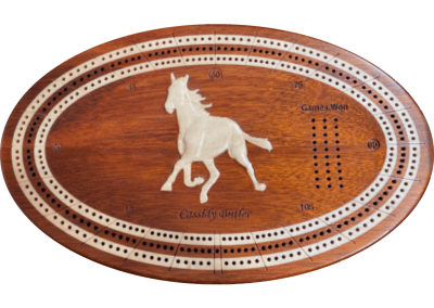 Custom bloodwood cribbage board with inlaid and carved horse