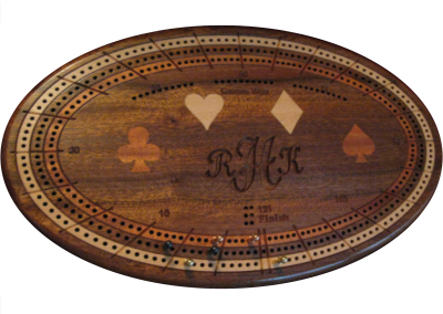 Custom cribbage board in old mahogany with inlaid suits and engrave monogram