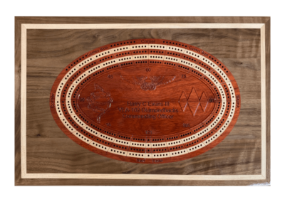Custom wood crib board inlaid into backgammon board top
