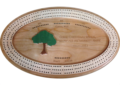Custom wood, 3-track cribbage board