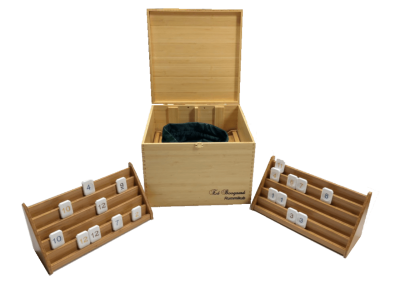 Wooden and candlestone Rummikub game in bamboo box