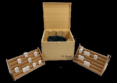 Wooden and candlestone Rummikub game in bamboo box